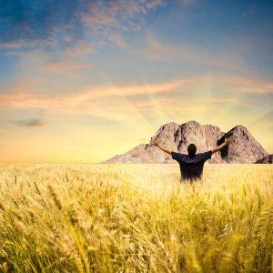 Man in field facing mountain
